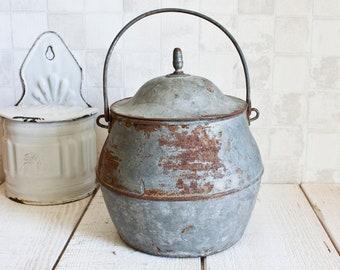 Antique French Gray and Rusty Galvanized Cauldron || Industrial Home Decor - Primitive Rustic Garden Decor - Farmhouse Decor