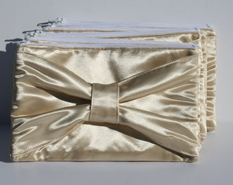 Gold Bow Clutch Satin Formal Evening Bridesmaids Zipper Clutches New Years