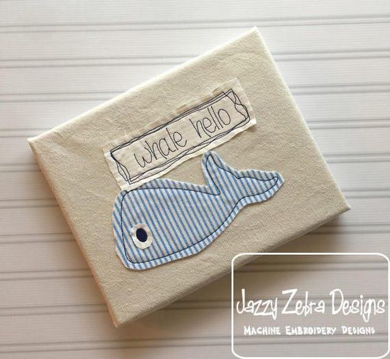 Whale hello Shabby Chic Appliqué design - whale appliqué design - vintage appliqué design - under the sea appliqué design - bean stitch