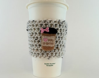 Love You A-Latte Coffee Cup Cozy / Crochet Coffee Sleeve / Reusable Cozie / Customizable