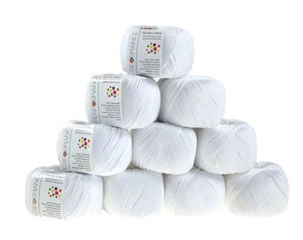 10 x 50g knitted yarn Dainty cotton, #02 White