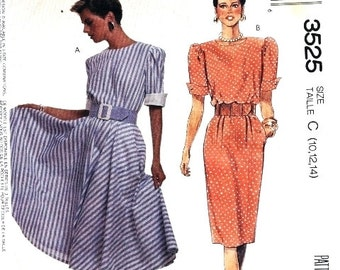 McCall's Pattern 3525 Vintage Dress and belt Size 10-12-14 UNCUT