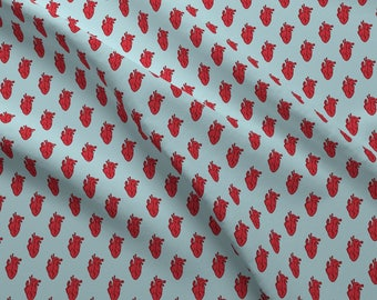 Small Red Hearts Fabric - Heart Beat In Blue By Joanandrose - Red Anatomical Heart Cotton Fabric By The Yard With Spoonflower
