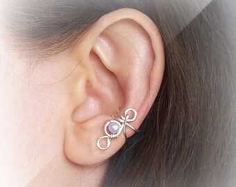 Silver Ear Cuff Purple Pearl Silver plated Ear Wrap