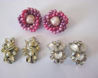 Clip on vintage earrings, 3 pairs, pink & purple beaded, rhinestones and moonstones