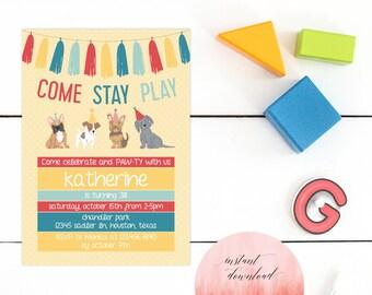 puppy invitation, puppy dog invitation, puppy birthday, puppy party, puppy pawty, puppy party invite, dog birthday, dog birthday party