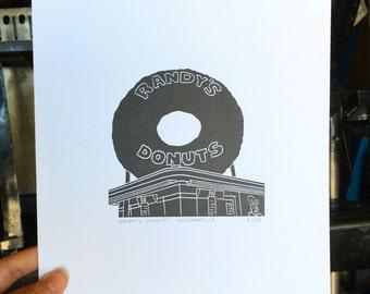 Randy's Donuts, Framed or Unframed Letterpress Print