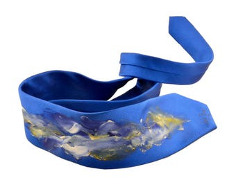 Hand painted silk blue tie