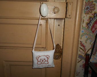 cushion handbag embroidered - Teddy bear - give me a hug