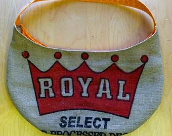 Large Burlap Hobo Weekender Bag Upcycled Royal Coffee Bag Made to Order