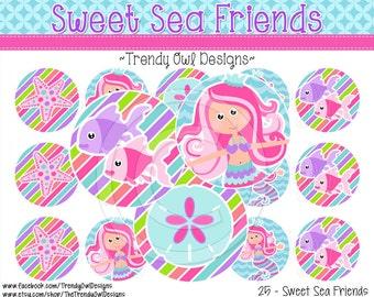 """Sweet Sea Friends Bottle Cap Images - INSTANT DOWNLOAD - Mermaids - 1"""" Bottle Cap Images 4x6 - 25"""
