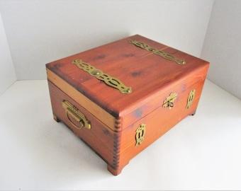 Vintage  Knotted Cedar Wood Box Cigar Box Jewelry Box Brass Accents Side Handles Trinket Keepsake Box