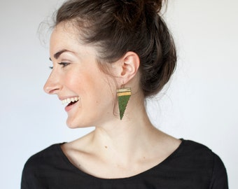Wood Fern // Loom Beaded Earrings // Emerald and Gold // Vibrant Handwoven Jewelry