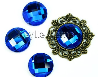 Mirror Glass Cabochon cab 14mm Round Checker Cut Faceted Dome -Royal Blue- 4pcs