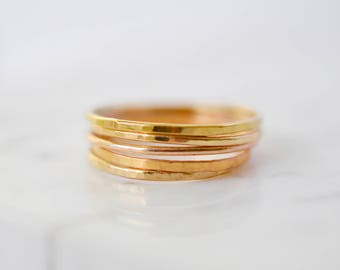Thin Gold Hammered or Smooth Polished Ring, 14kt Gold Filled Ring, Stackable Gold Rings, Stacking Ring, Gold Midi Ring
