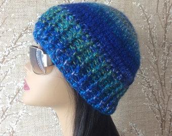 Blue crochet hat, Green Crocheted  hat, crochet hat, Blue/Green Crochet Winter hat. Crocheted Women Beanie hat, crochet hat
