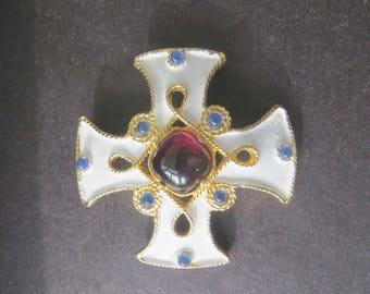 Maltese Cross Brooch, Malta Cross Pin, Signed Castlecliff, Gripoix Glass, Vintage Heraldic Cross, Cross Jewelry