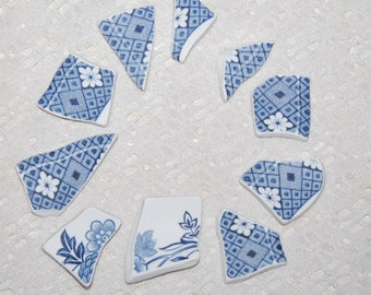 Blue and white plate pieces - 10 pieces