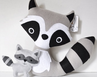 Plush Raccoons - Mommy and her Baby - READY TO SHIP