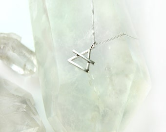 Sterling silver alchemy choker or necklace, alchemical air symbol