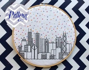 Hello Chicago Cross Stitch Pattern. Cubs. Confetti City Skyline. Cityscape. Digital PDF Pattern. Blackwork. Housewarming. Bears.