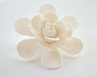White Gardenia Hair Clip, Bridal Gardenia Hair Fascinator, Gardenia Flower Hair Clip.