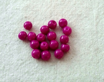 Glass Raspberry Color Beads - 8 mm - Sets of 20