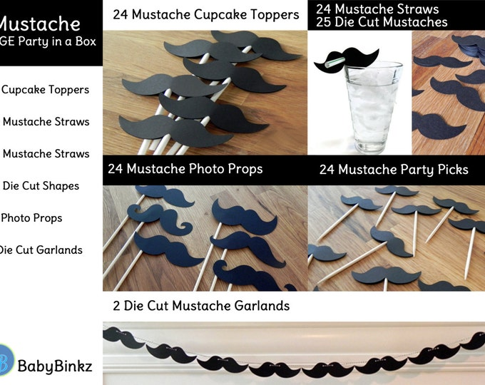 Large Mustache Party in a Box - Little Man Mustache Bash Decorations Party Package Set die cut mustache black