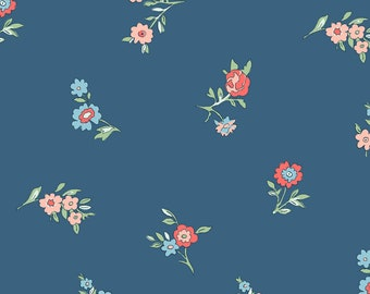Liberty The Cottage Garden Little Vine Blue Fabric - Liberty 100% Cotton Quilting Fabric