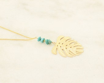 Palm Leaf and Turquoise long gold Necklace - boho Chic