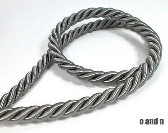Twisted silk cord, 9mm, grey satin cord, 1 meter