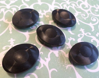 5 Black Oval Vintage Buttons 7/8 Inch for Sewing Crafts Scrapbooking Cardmaking Jewelry