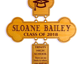 High School Graduation Gift - Gifts for College Graduation Personalized - Christian Gift for Graduate from Mom - Aunt - Cross