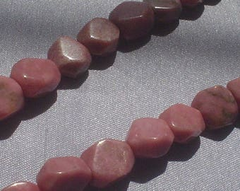 natural gemstone rosy pink rhodonite square nugget 10 mm / 15 inch