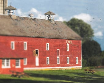 Farmhouse Art Print, Barn Art, Country Decor, Rustic Wall Art, Red Kitchen, Grey, Primative, Dining, Red Art, Fall Decor, Farm Art