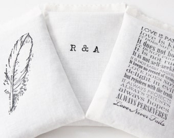 Personalized Gift for Wife, Cotton Anniversary Gift for Her - Lavender Sachets with Initials, Quote, and Motif