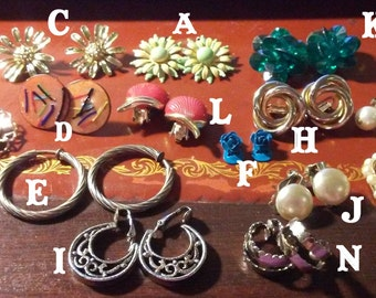 Clip-on and screw-on earrings - mostly 1960s vintage - choose a pair! - ADDED MORE choices!