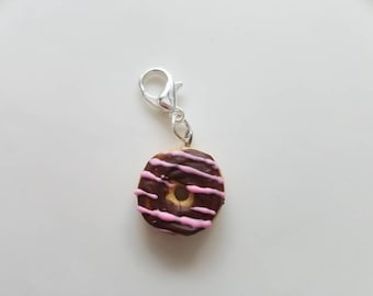 Chocolate Donut with Stawberry Drizzle Charm Progress Keeper Stitch Marker Polymer Clay