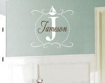 Initial and Name Nautical Boat Vinyl Wall Decal - Monogram Baby Boy or Teen Wall Decal with Polka Dots and Sailboat FN0398