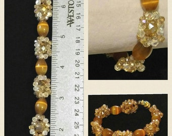 Beautiful Crystals and Glass Beads Bracelet, Tanish/Goldish
