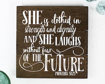 Girl Nursery Wall Art She is Clothed in Strength and Dignity