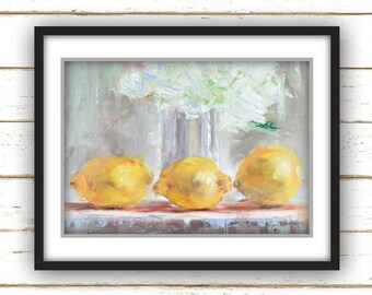 Three Lemons - Large Home Decor Wall Art Print - Oil Painting Print with White Flowers and Yellow Lemons