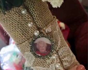 Memorial Charm, Bouquet Photo Charm, Custom Photo Charm, Tuxedo Photo Charm