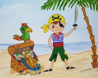 Picture for children bedroom pirate acrylic painting hand painted treasure box Island Sea Young