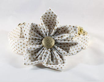 White and Gold Polka Dot Bow Tie Girl Dog Flower Collar, Bowtie Dog Collar, Preppy Dog Collar, Holiday, New Year's Eve, Christmas