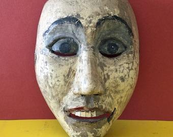 Antique Indonesian Mask, Vintage Wooden Mask