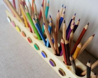 Montessori wood pencil holder, color sorting, practical life, toddler gift, adult coloring pencil holder, wood desc organizer