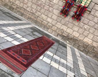 FREE SHIPPING! Persian Runner Rug 2x8.4 ft Vintage Oushak Rug Handmade Rug  Carpet  Oushak Runner Rug Turkish Rug Kilim Rug Red Runner Rug