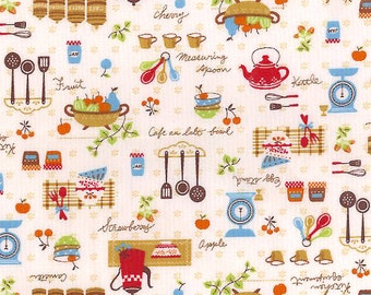 Country Kitchen Fabric - Kawaii Folk Scandinavian Food Cooking - Japanese Import Fabric - OOP VHTF