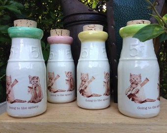 Ceramic Milk Bottle, Handmade Milk Bottle, Cat Milk Bottle, Bee Keeper Milk Bottle, Ceramic Honey Bottle, Ceramic Cork Jar